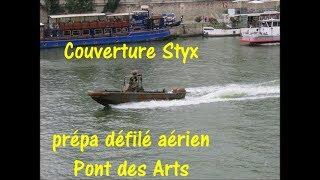 Défilé aérien préparatoire Pont des Arts avec couverture Styx 11 juillet 2018