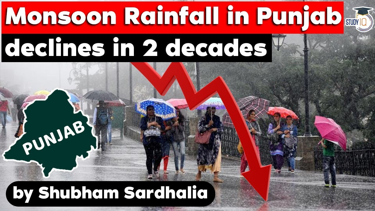 Monsoon rainfall declines in Punjab in last 2 decades WHY? Punjab Civil Service, PPSC, Punjab Police