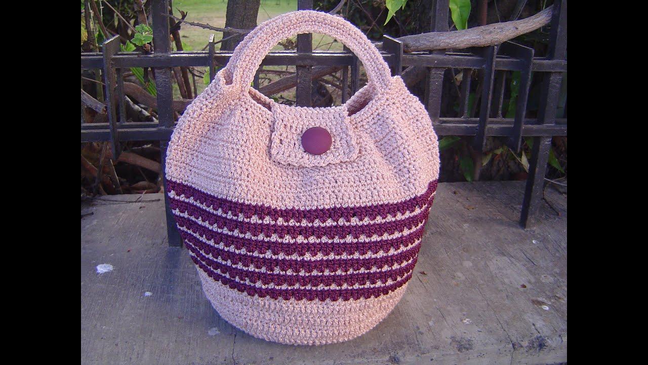 Como tejer bolso en crochet paso a paso tutorial parte 3 - Bolso ganchillo paso a paso ...