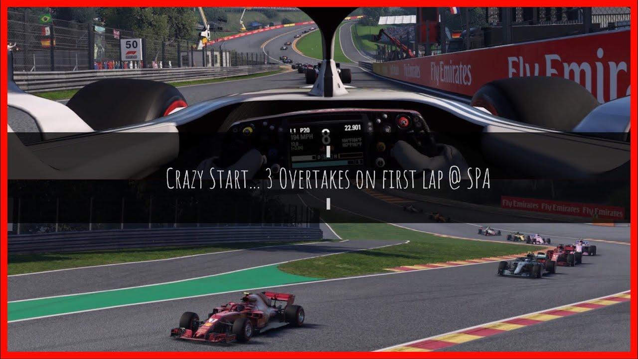 F1 Spa 2019 onboard   Belgium   Formula 1   Crazy race start   Ferrari   F1 2018 Gameplay