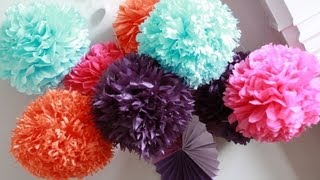 How To DIY Paper Pom Tutorial | Decorations that impress(Hi everyone! Please make sure to Like the video and Subscribe I would love to see your paper poms! Just take a pic and post it on twitter, you can follow me ..., 2013-09-08T05:21:54.000Z)