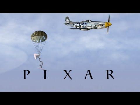 132-Pixar Lamp Parachute From P-51 Mustang Fighter Aircraft Spoof Pixar Logo