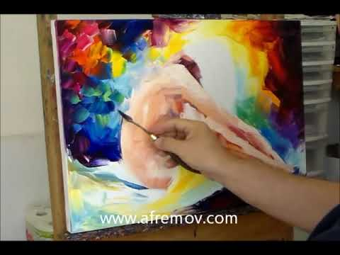 Leonid Afremov creating a painting of a Nude
