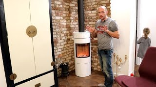 Видео обзор печи камина Rais Viva 120 White. Угловой камин в современном доме