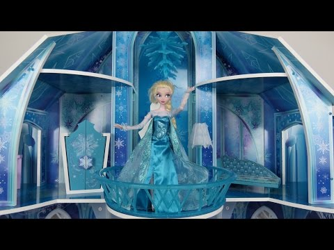 Elsa from Frozen shows amazing ICE Palace to Anna!  Nice Castle! Grand Ice Chandelier!