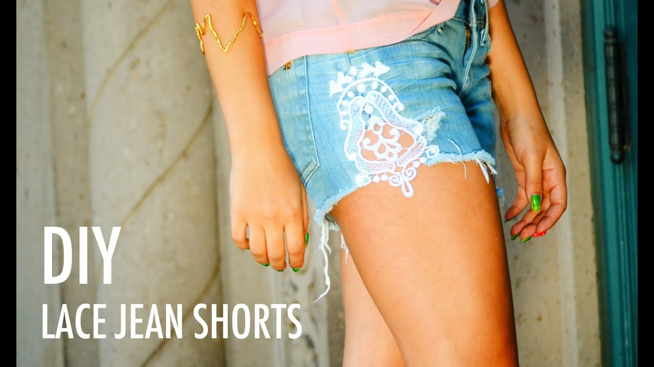 DIY Lace Jean Shorts with Mr. KateYouTube