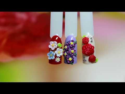 Объемный цветочный маникюр с применением силиконовых форм