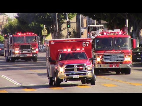 LAFD Light Force 33 & Rescue 57 Responding