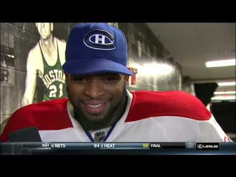 P.K Subban kisses Pierre McGuire after game 7 vs Boston Bruins