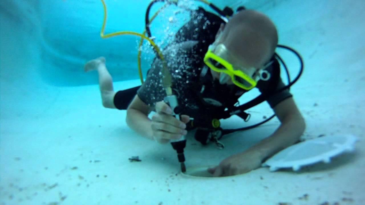 Installing Pool Screen On Main Drain Underwater Scuba