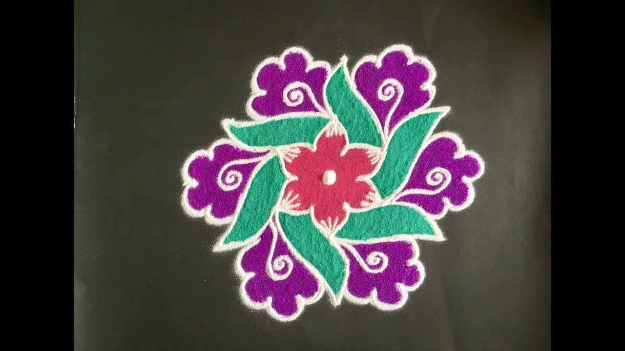 Simple Rangoli Design With Colours For Festivals And Competitions With Dots 9x5 Beautiful Kolam Youtube