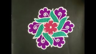 Simple Rangoli Design with Colours for Festivals and Competitions with dots 9x5 | Beautiful Kolam