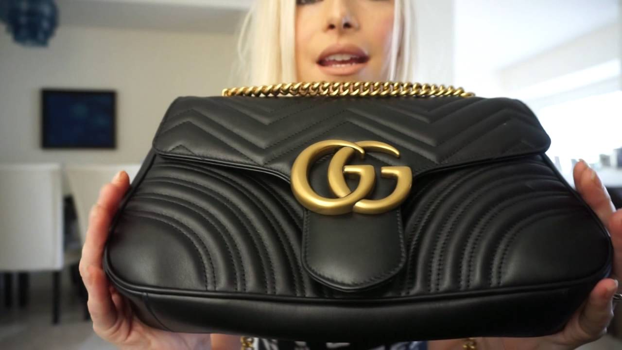 cb3498e0695c Gucci marmont medium shoulder bag - YouTube