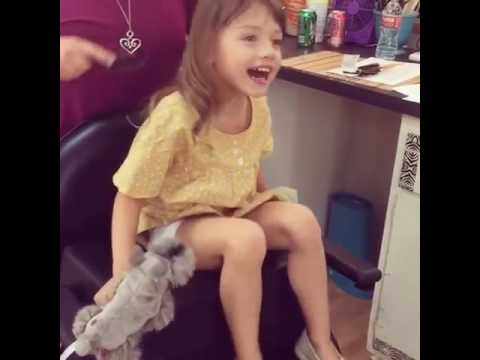 5 year old girl chops her hair off and her grandma freaked this little 5 year old girl getting her hair done not easy