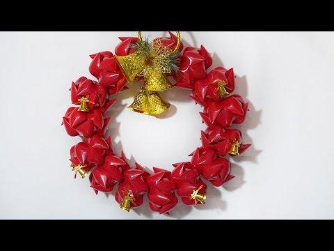 Diy Christmas Door Wreath | Made From Plastic Bottles | Christmas Wreath Craft Idea