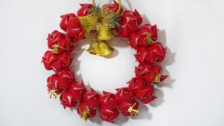 Diy Christmas Door Wreath | Made From Plastic Bottles | Christmas Wreath Craft Idea