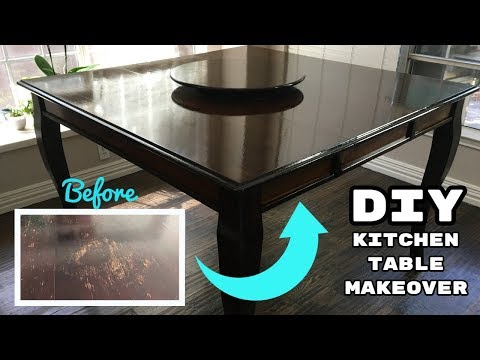 DIY Refinishing Kitchen table tutorial   Wood stripped, sanded, and stained