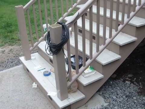 Azek Stairs, Lights and Trim in Place - YouTube