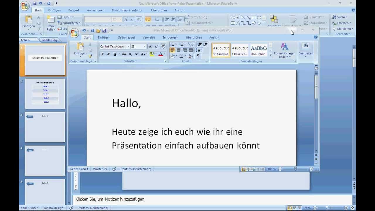 Präsentation mit Powerpoint einfach und schön - YouTube