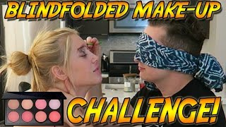 BLINDFOLDED MAKEUP CHALLENGE! HILARIOUS!