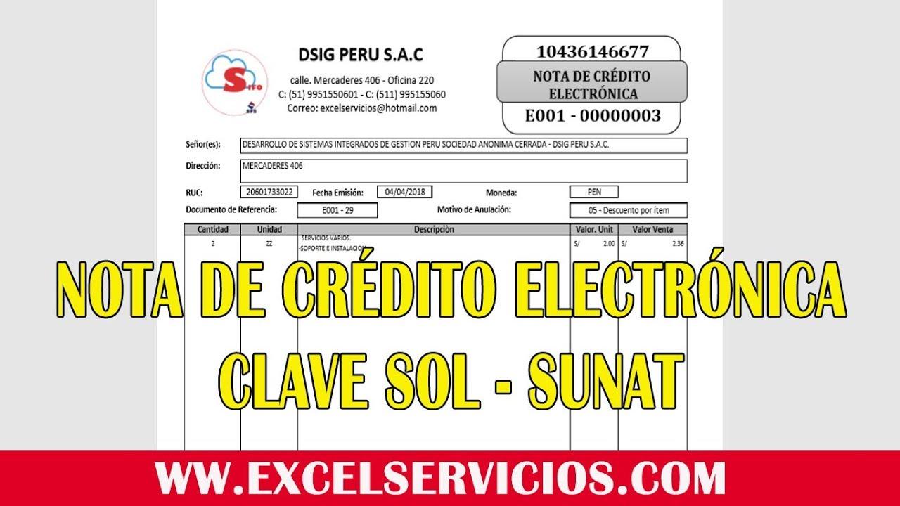 Impresion de Nota de Crédito Electrónica CLAVE SOL SUNAT - YouTube