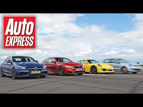Mercedes C63 AMG S vs BMW M4 vs Porsche 911 C4 GTS - Launch control drag race