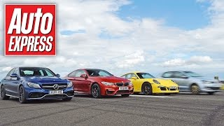 Mercedes C63 AMG S vs BMW M4 vs Porsche 911 C4 GTS - Launch control drag race