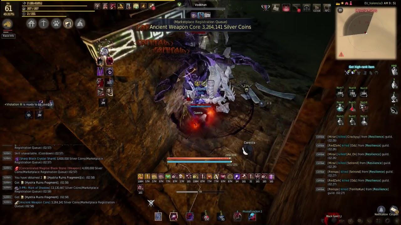 Black Desert Online - Sorceress 61 - Hystria rotation ~1300 loots/h