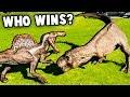 SPINOSAURUS vs T REX!  Who Wins?  (Jurassic World Evolution Dino Battles)