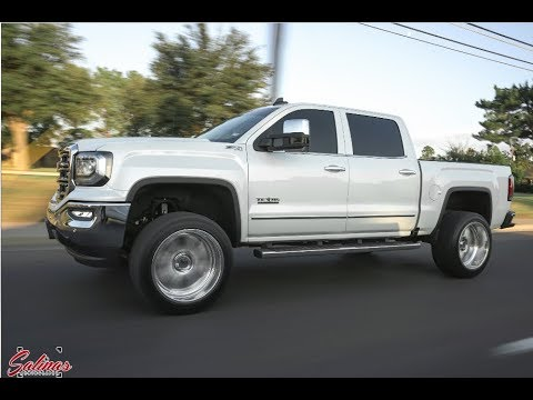 2017 1500 4x4 gmc sierra slt 22x12 forged wheels on 4 inch lift clean and simple youtube. Black Bedroom Furniture Sets. Home Design Ideas