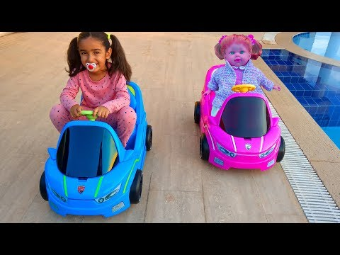 Little Baby Esma and Doll Pretend play ride on car fun kid video