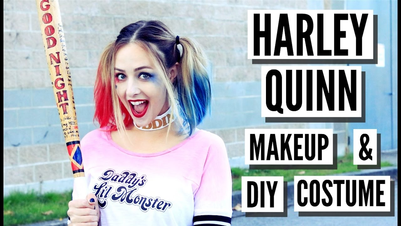 Easy Diy Harley Quinn Suicide Squad Makeup Hair Costume