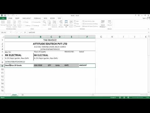 Excel से GST Bill बनाना in 3 Easy Steps | GST invoice In Excel