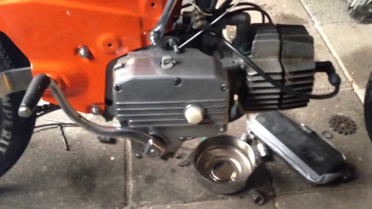 Puch 2 speed z50 first start after rebuild. - YouTube