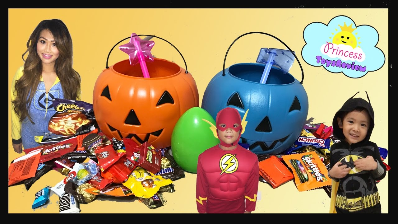 halloween trick or treat for toy egg surprises and kids candy with princess toysreview youtube