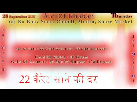 Aaj Ka Rate Gold, Silver, Currency, Share Market 28 September 2017 India Market News in Hindi