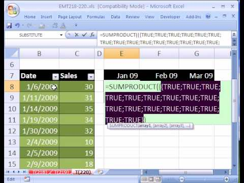 Excel Magic Trick #220: Count Dates In Each Month