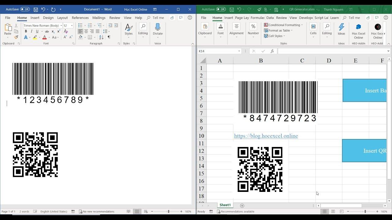 Cách tạo QR code hoặc Barcode ở trong Word, Excel 2013, 2016