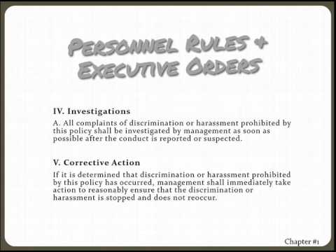 Personnel Rules & Executive Orders Chapter 1, Part 1