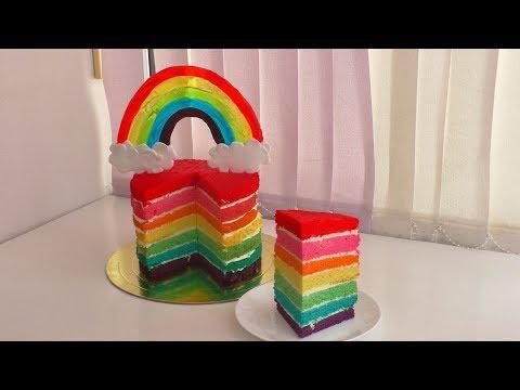 Как сделать РАДУЖНЫЙ ТОРТ Rainbow Cake