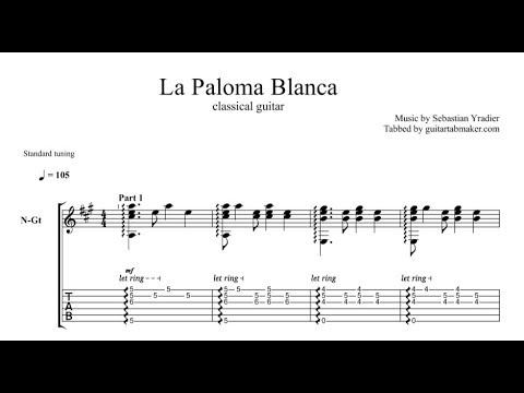 La Paloma Blanca TAB - fingerstyle classical guitar tab - PDF - Guitar Pro