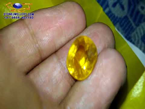 9 Carat Good Quality Bangkok Yellow Sapphire - Pukhraj Stone | StoneJwellery | +91-9868-401180