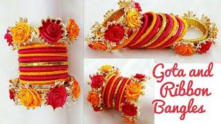 Gota and Ribbon Bangles/Navratri Jewellery/Garba Jewellery/Old Bangles turn into New/Gota Bangles