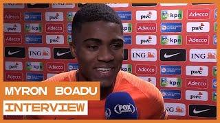 """Myron Boadu trots op debuut: """"Dat je een doelpunt maakt is fantastisch"""""""
