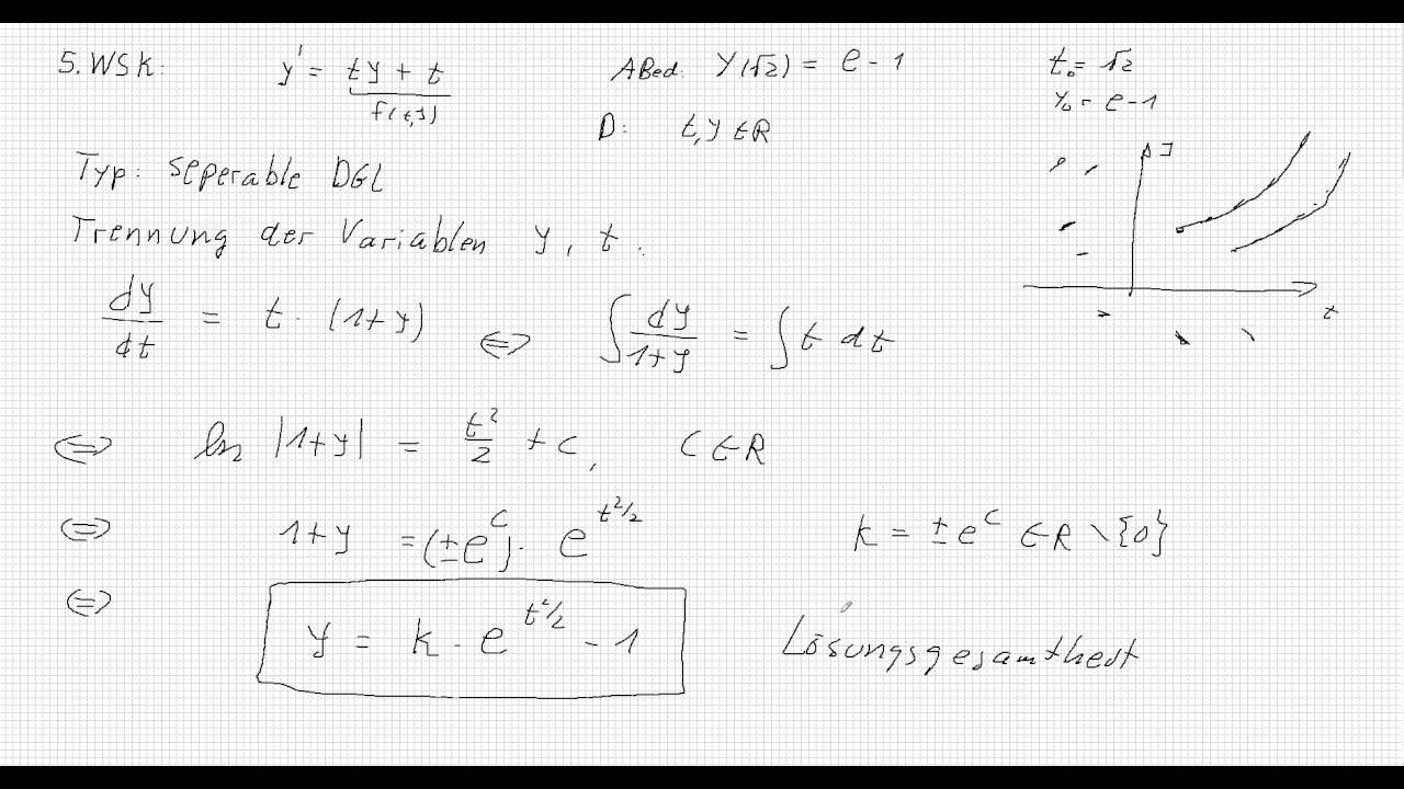 Lineare Dgl Mit Trennung Der Variablen Youtube