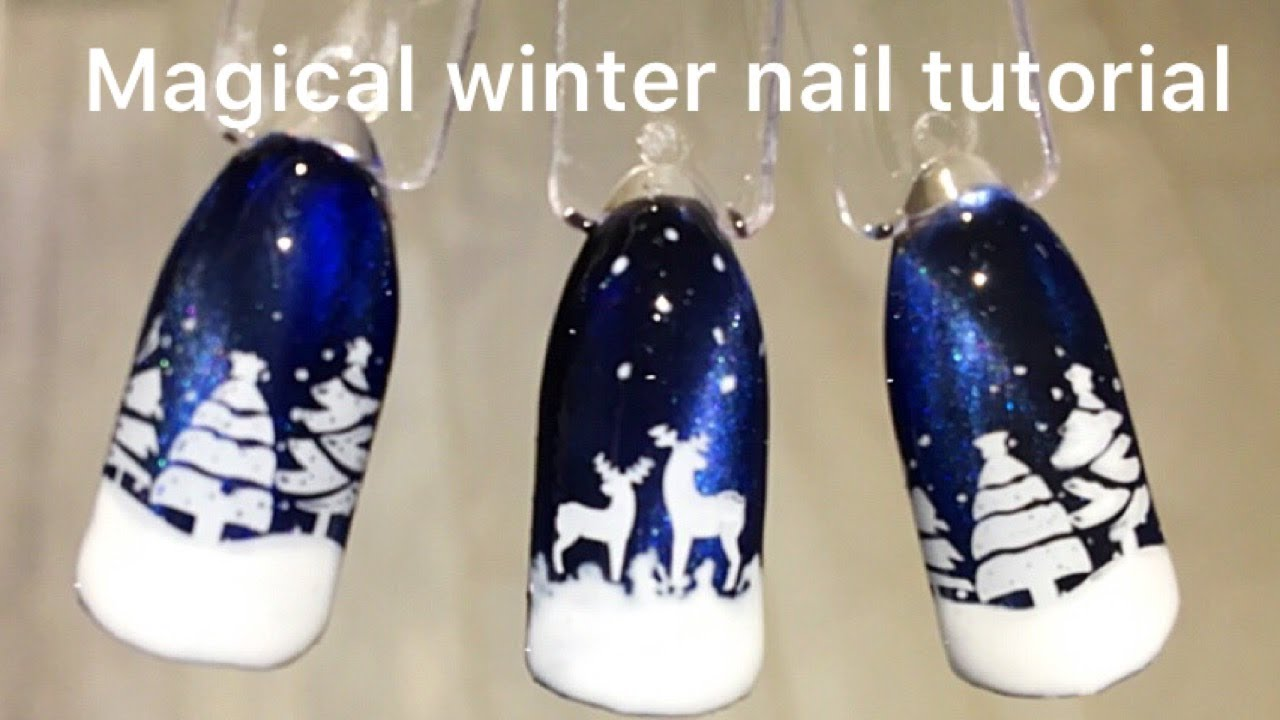 New Gel Polish Nail Art Easy Fall Winter Nail Art Design Ski