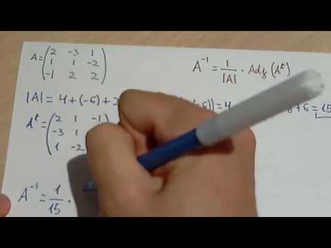 Matriz inversa (determinante, traspuesta y matriz adjunta o de cofactores)