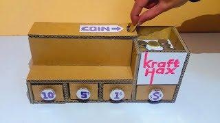 DIY Coin Sorting Machine from Cardboard - DIY Self-sorting Coin Bank!