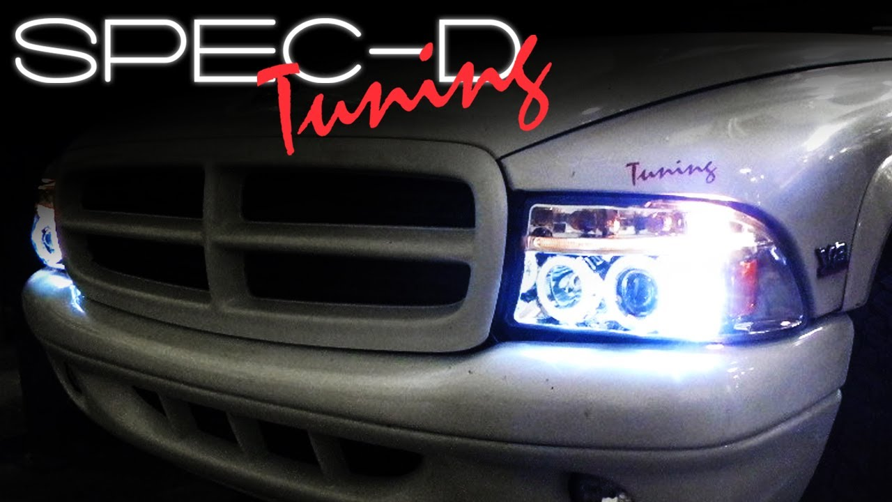 hight resolution of specdtuning installation video 97 04 dodge dakota 98 03 dodge durango projector headlights youtube