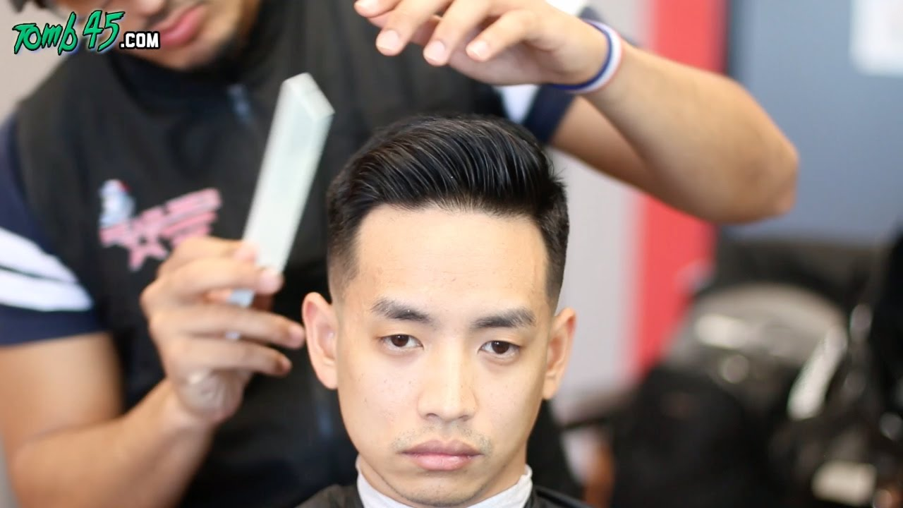 barber tutorial! side part fade with asian hair